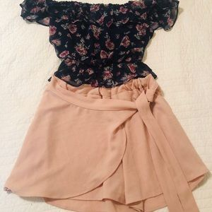 Pants - Shorts with front wrap for skirt look - skort